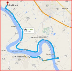ACR to Shell Geismar Map